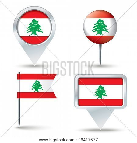 Map pins with flag of Lebanon - vector illustration
