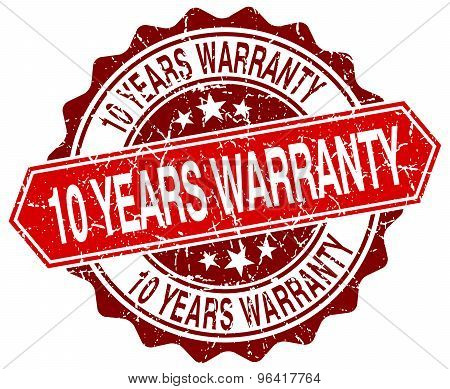 10 Years Warranty Red Round Grunge Stamp On White
