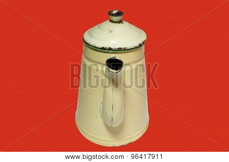 Antique yellow iron Kettle isolated on color background