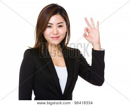 Buisnesswoman with ok sign gesture