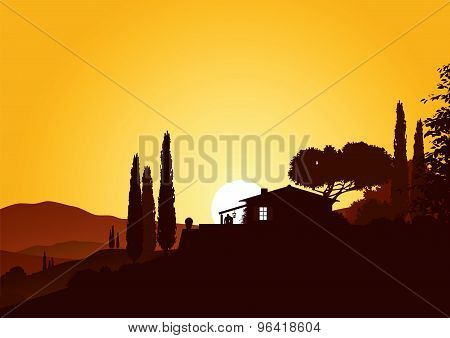 holiday home in sunset