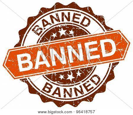 Banned Orange Round Grunge Stamp On White