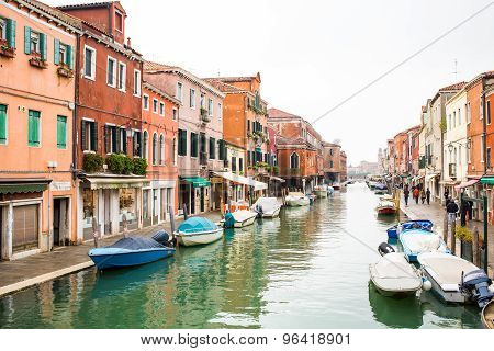 Canal In Murano Island, Street And Boats