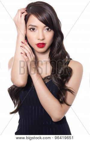 Beautiful Asian woman on isolated background