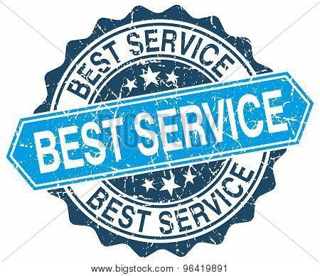 Best Service Blue Round Grunge Stamp On White