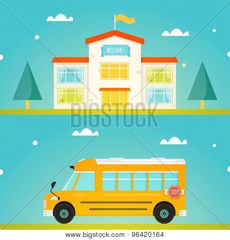 Colorful School Building with Welcome Sign. Modern Yellow School Bus
