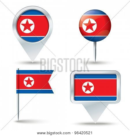 Map pins with flag of North Korea - vector illustration