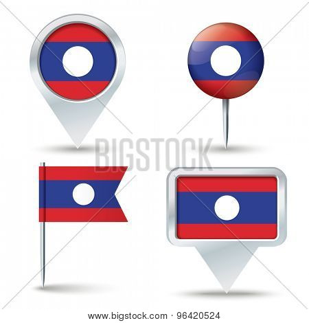 Map pins with flag of Laos - vector illustration