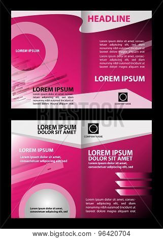 Pink brochure layout design template