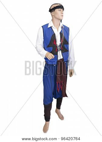 Greek Cretan National Man Clothes Costume On Mannequin Isolated Over White
