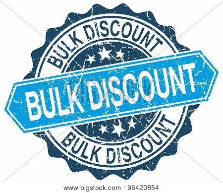 Bulk Discount Blue Round Grunge Stamp On White
