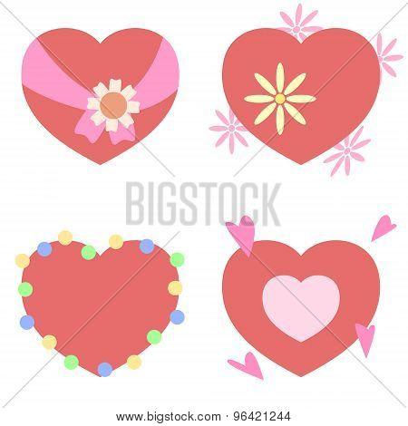 illustration heart decoration set