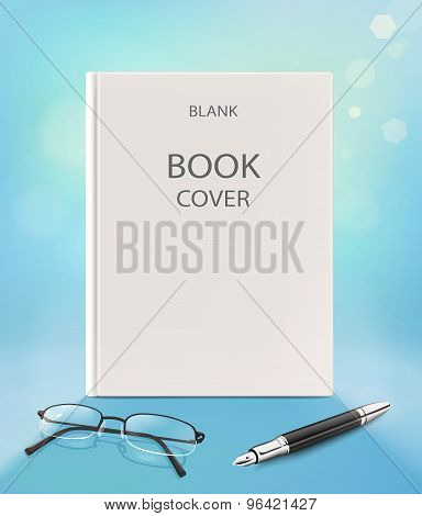 Blank Vertical Book Cover, On A Blue Backgraund With Glasses And Pen