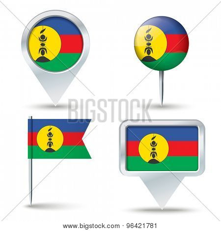 Map pins with flag of New Caledonia - vector illustration