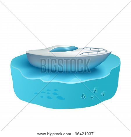 Boat In The Ocean, Against The Background Of The Underwater World