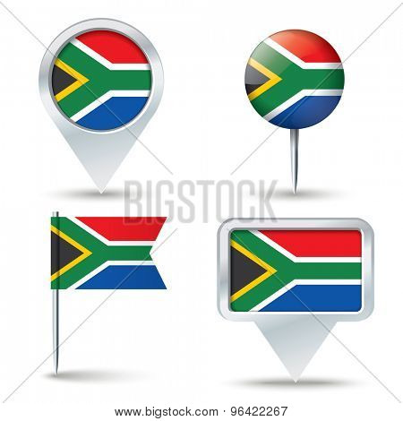 Map pins with flag of South Africa - vector illustration