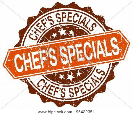 Chef's Specials Orange Round Grunge Stamp On White
