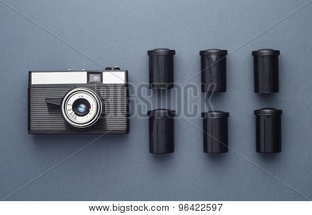 Vintage Photo Camera And Camera Film Roll