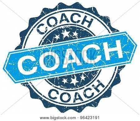 Coach Blue Round Grunge Stamp On White