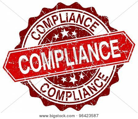 Compliance Red Round Grunge Stamp On White