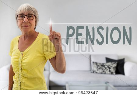 Pension Touchscreen Is Shown By Senior