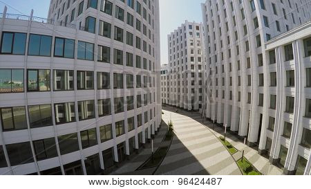 MOSCOW - MAY 20, 2015: Road between edifices of business complex Aquamarine at spring sunny day. Aerial view