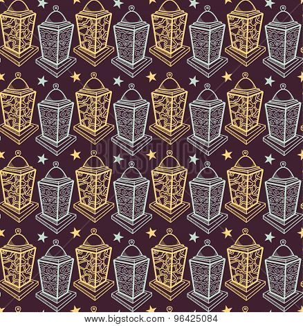 Vector vintage lanterns seamless pattern. Hand drawn graphic ornamental background with lanterns.