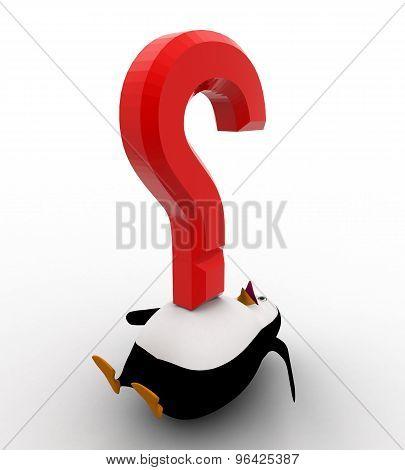 3D Penguin Under Pressure Of Big Red Question Mark Concept