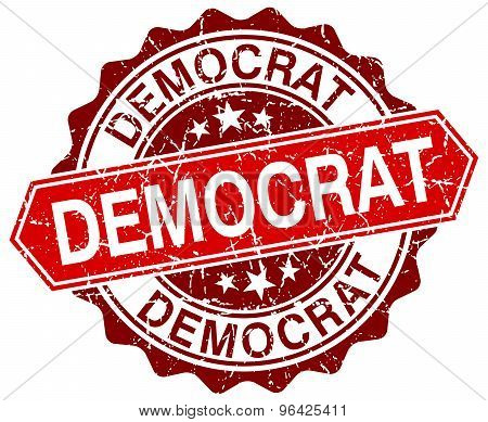 Democrat Red Round Grunge Stamp On White