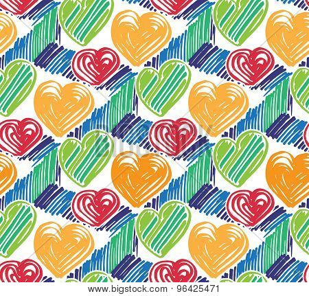 Vector Colorful Seamless Pattern With Marker Texture On White Background. Hand Drawn Marker Pattern.