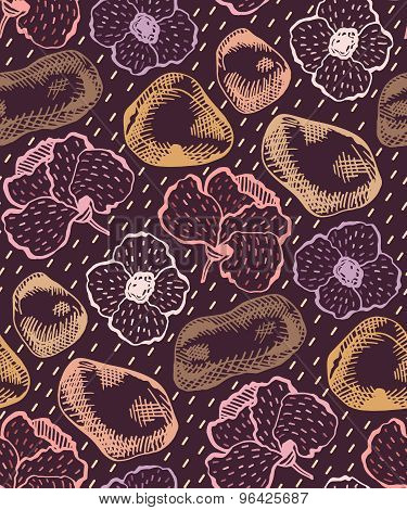Vector Hand Drawn Graphic Seamless Pattern With Flowers And Stones. Cute Colorful Flower Background