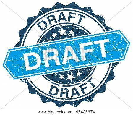 Draft Blue Round Grunge Stamp On White