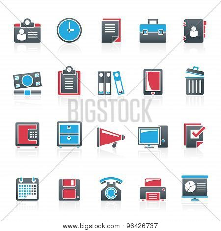 Business and office supplies icons