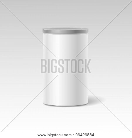 Vector object. White round tin packaging. Tea  coffee, dry products. Place your design.  Realistic s