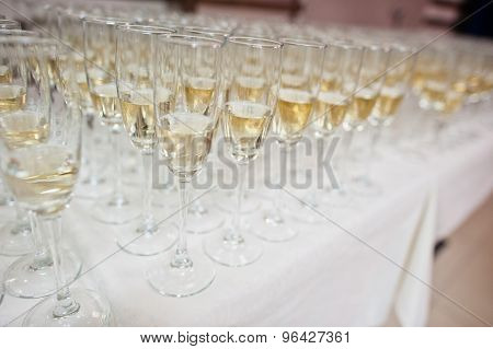 Glasses Of Champagne On Wedding Reception