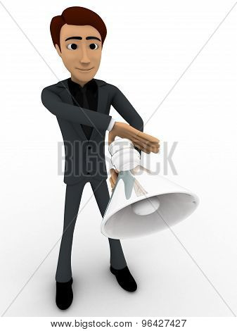 3D Man With Speaker To Announce Concept