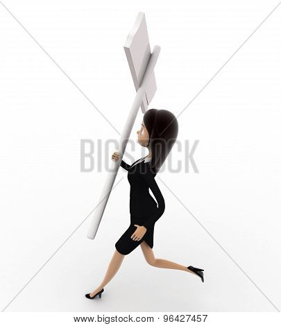 3D Woman Running With Black Sign Board Concept