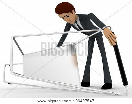 3D Man Taking Up Falled Shopping Cart Concept
