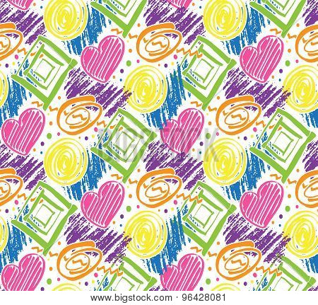 Vector Colorful Seamless Pattern With Marker Texture. Hand Drawn Doodle Marker Background.