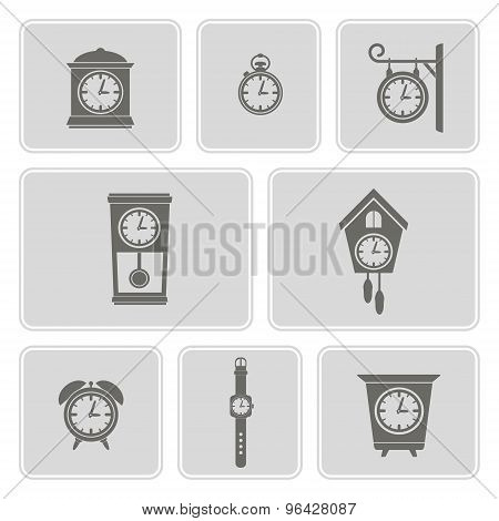 set of monochrome icons with clock