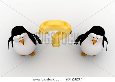 3D Penguin Binded With Golden Question Mark Concept