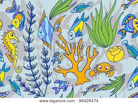 Seamless Pattern With Different Tropical Fish And Coral