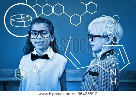 Science graphic against cute pupils dressed up as teachers in classroom
