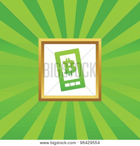 Bitcoin on screen picture icon
