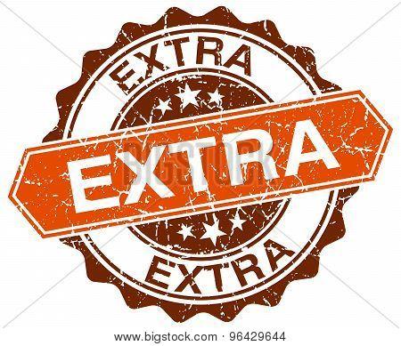 Extra Orange Round Grunge Stamp On White