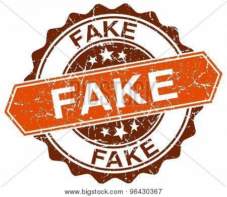 Fake Orange Round Grunge Stamp On White