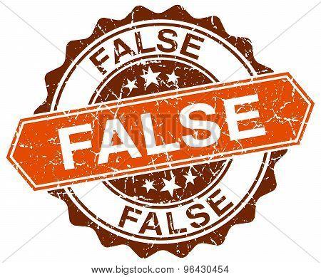 False Orange Round Grunge Stamp On White