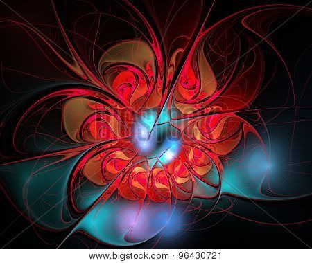 Abstract Fractal Design. Red Flower On Black.
