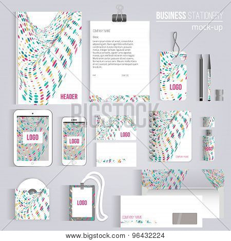 Vector creative colorful wave corporate identity set of Stationery Branding. Consist of letterhead,