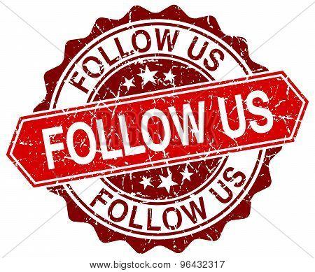Follow Us Red Round Grunge Stamp On White